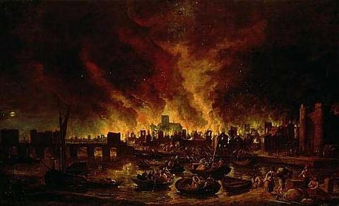 Резултат с изображение за Големият пожар в Лондон,
